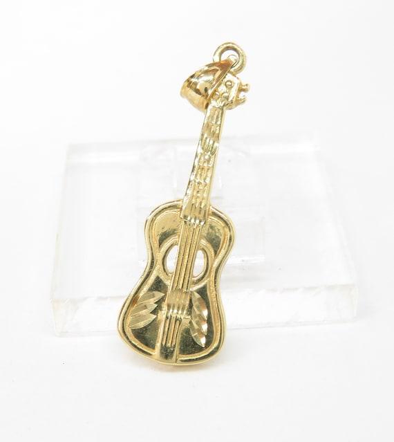 14k Gold Guitar Charm; Vintage Charm; Retro Charm;