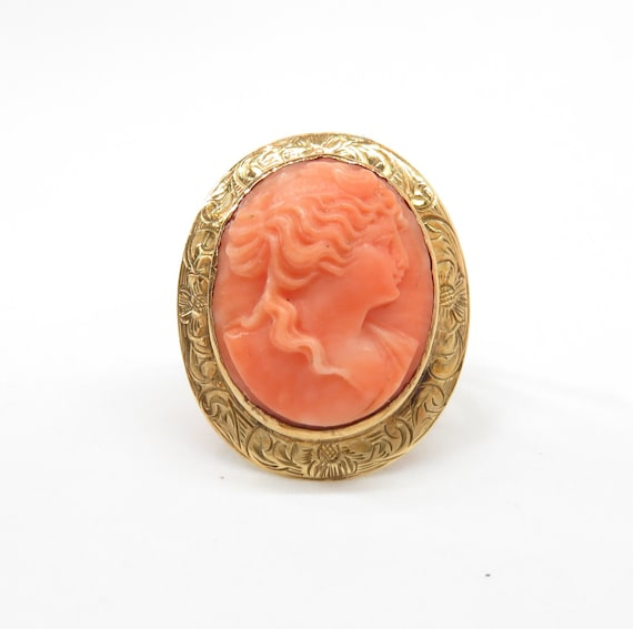 Victorian 14k Gold Coral Cameo Ring; Vintage Cameo
