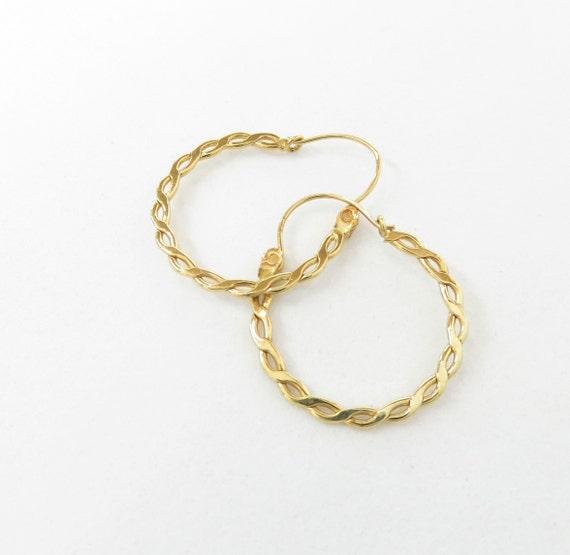 14k Gold Hoop Earrings; Vintage Hoops; Dainty Gold