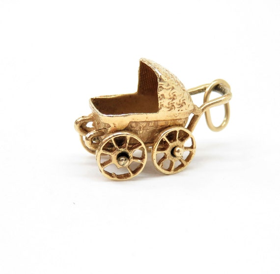 Vintage 14k Gold Baby Carriage Charm; Vintage Char