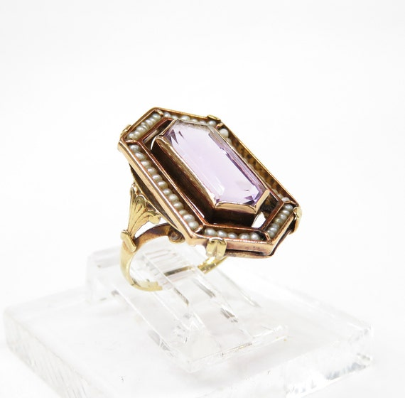 Victorian 14k Gold Amethyst and Seed Pearl Ring; … - image 6