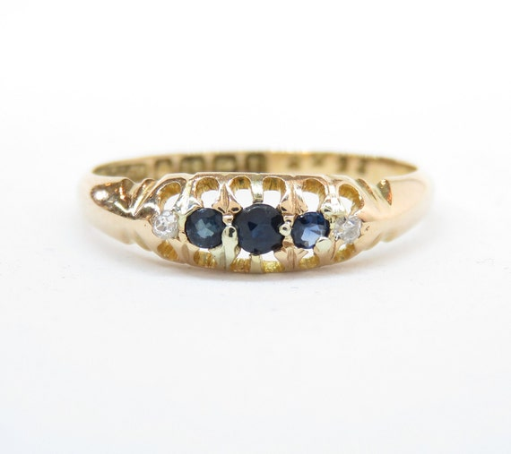 Victorian 18k Gold Sapphire and Diamond Ring; Vint