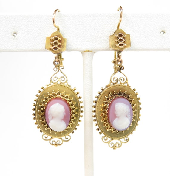 14k Gold Victorian Cameo Earrings; Vintage Cameos;