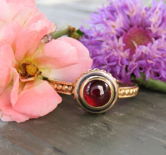 14k Gold Garnet Ring; Vintage Garnet Ring; Minimal