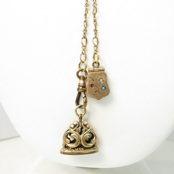 Victorian Necklace with Gold Filled Locket and Fob