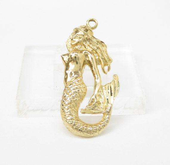 14k Gold Mermaid Charm; Vintage Gold Charm; Charm