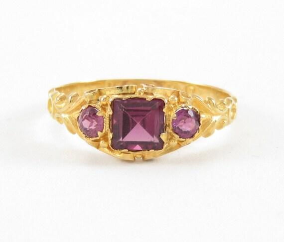 Victorian 15k Gold Rhodolite Garnet Ring; Vintage