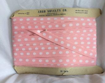 Vintage Pink with White Polka Dot Trim - 20 Yards - Argo Novelty