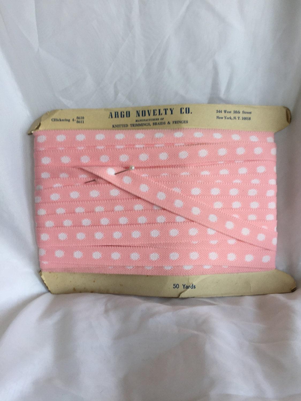 Vintage pois Rose avec pois Vintage blanc garniture - 20 verges - Argo nouveauté 43f4f7