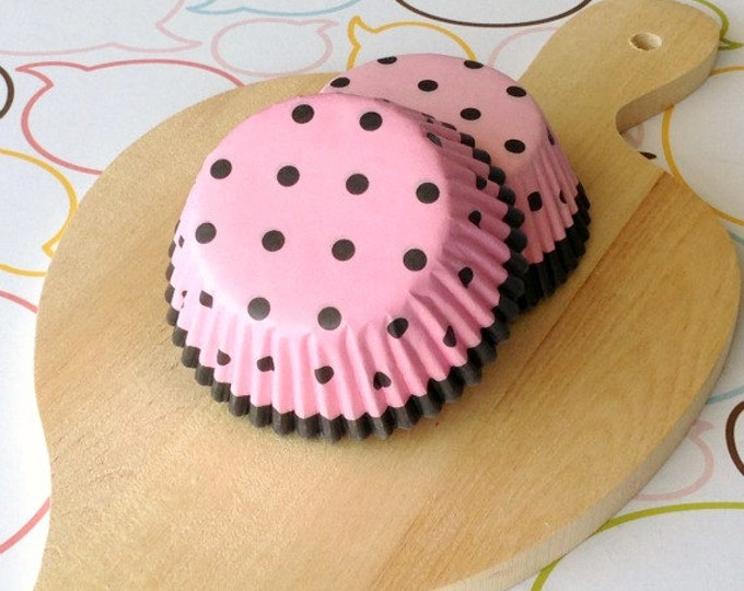 Pink/Dark Brown Polka Dots Standard Cupcake Liner