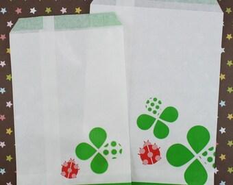Lady Bugs n 4 Leaf Clovers Paper Bags