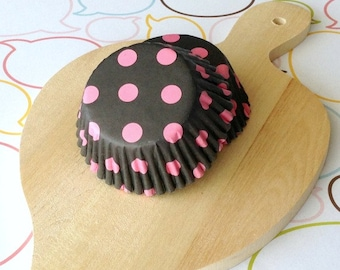 Black/Hot Pink Dots Standard Cupcake Liners