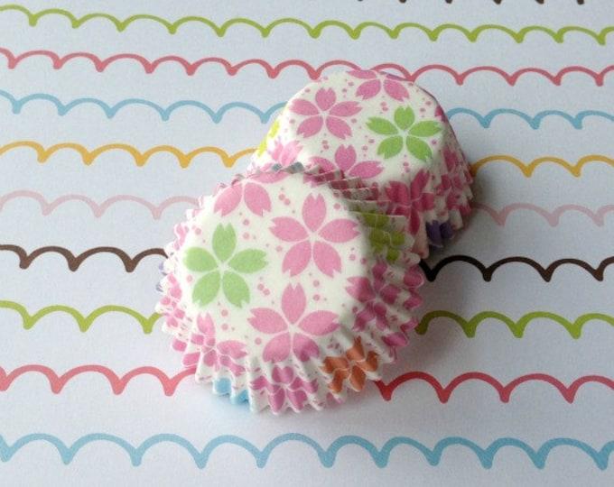 SALE - Mini Pastel Sakura/Cherry Blossom Cupcake Liners