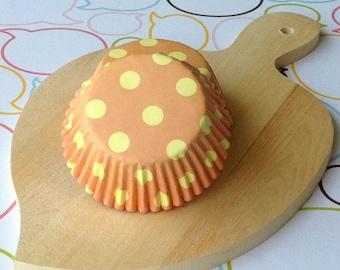 Orange/Yellow Polka Dots Cupcake Liners