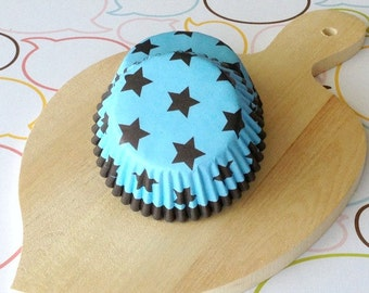Blue/Dark Brown Stars Standard Cupcake Liners