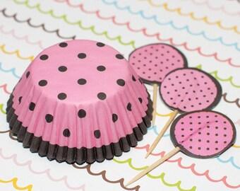 Pink/Dark Brown Polka Dot Cupcake Set