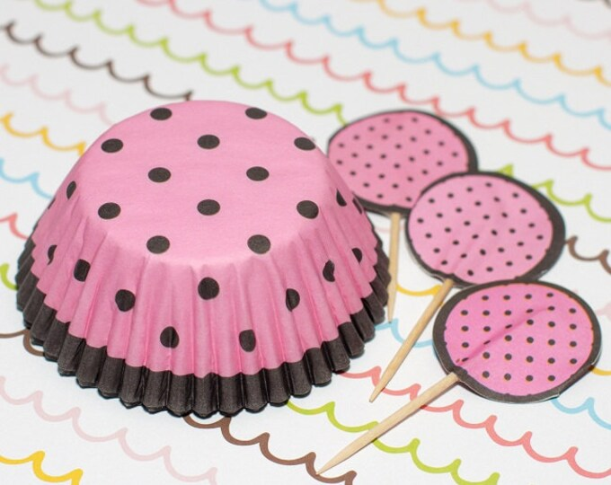 Pink/Dark Brown Polka Dot Cupcake Set
