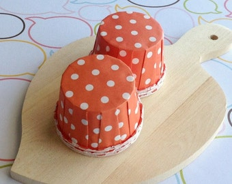 25 Polka Dot Orange Baking Cups