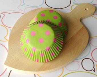 Lime/Pink Polka Dots Standard Cupcake Liners