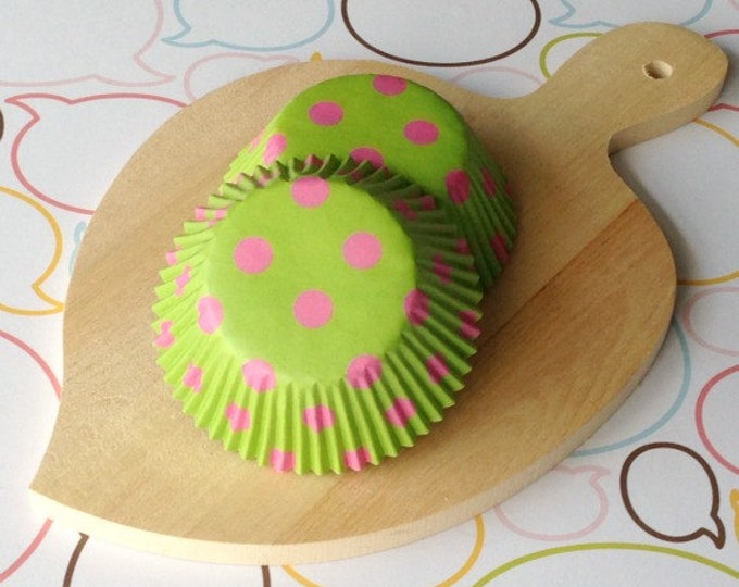 Lime/Pink Polka Dots Standard Cupcake Liners