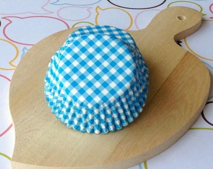 Blue Gingham Standard Cupcake Liners