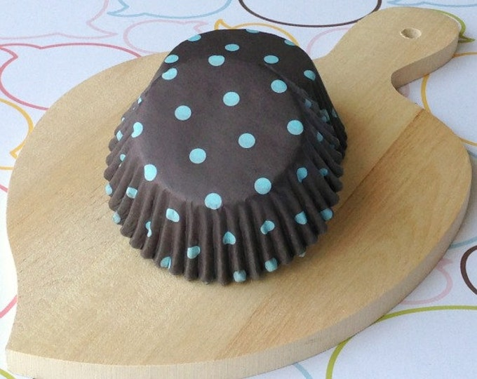 SALE - Dark Brown/Blue Polka Dot Standard Cupcake Liners