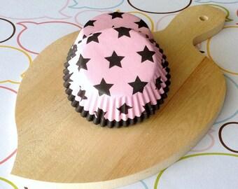 Pink/Dark Brown Stars Cupcake Liners