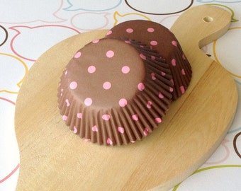 Chocolate Brown/Pink Polka Dots Cupcake Liners