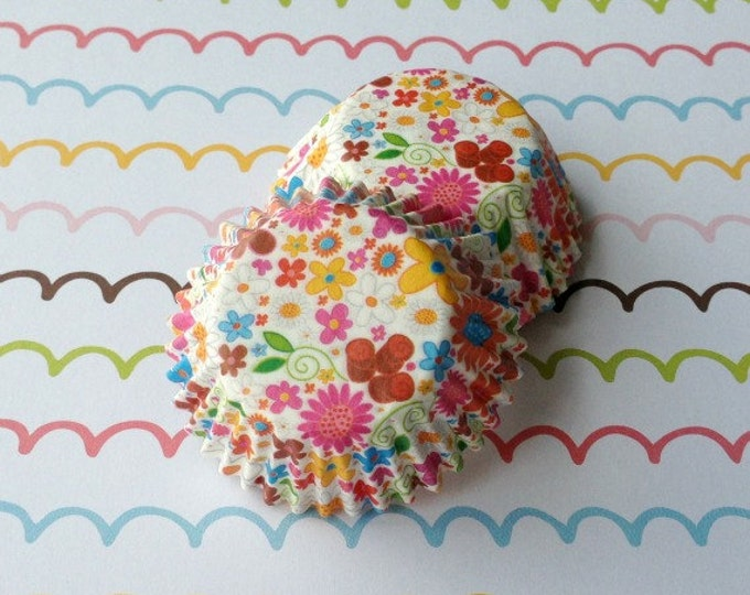 SALE - Mini Floral Cupcake Liners