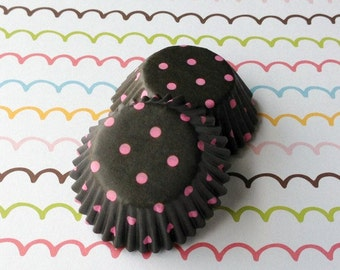 SALE - Mini Dark Brown/Pink Pollka Dots Cupcake Liners