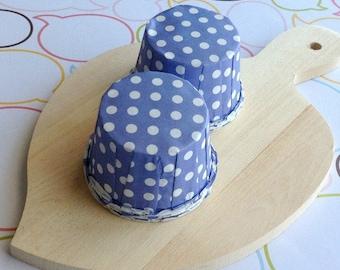 25 Lavender Polka Dot Baking Cups
