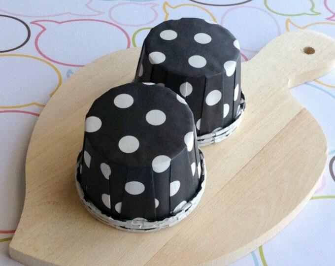 50 Polka Dots Black Baking Cups