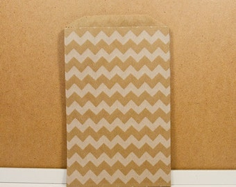 Middy Bitty Bags - Kraft/White Chevron
