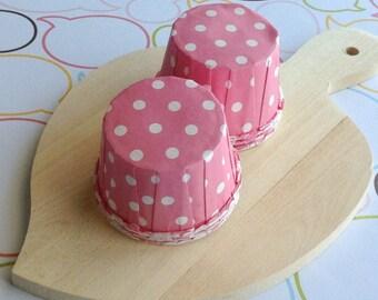 25 Polka Dots Pink Baking Cups