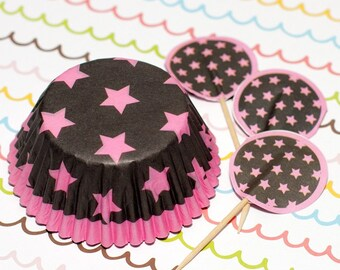 Dark Brown/Pink Stars Cupcake Set