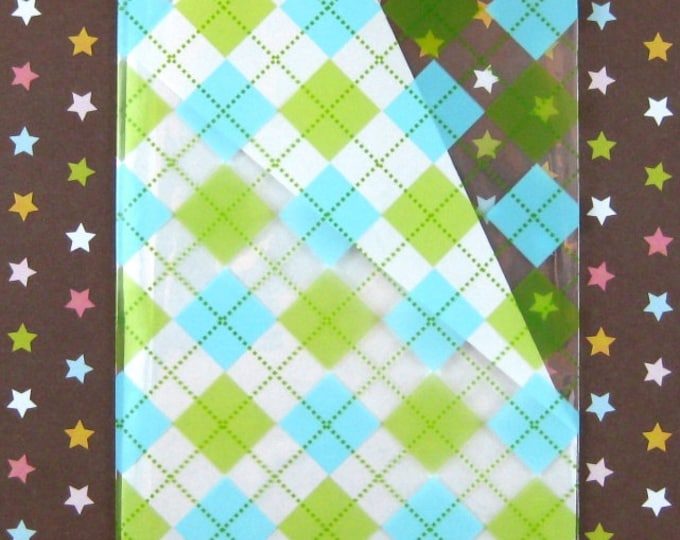 Green and Blue Plaid Gift Bags