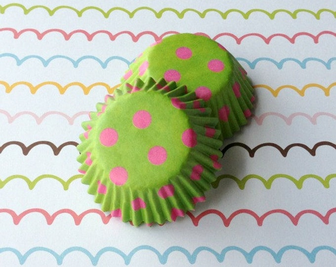 SALE - Mini Polka Dots Cupcake Liners - Lime/Pink