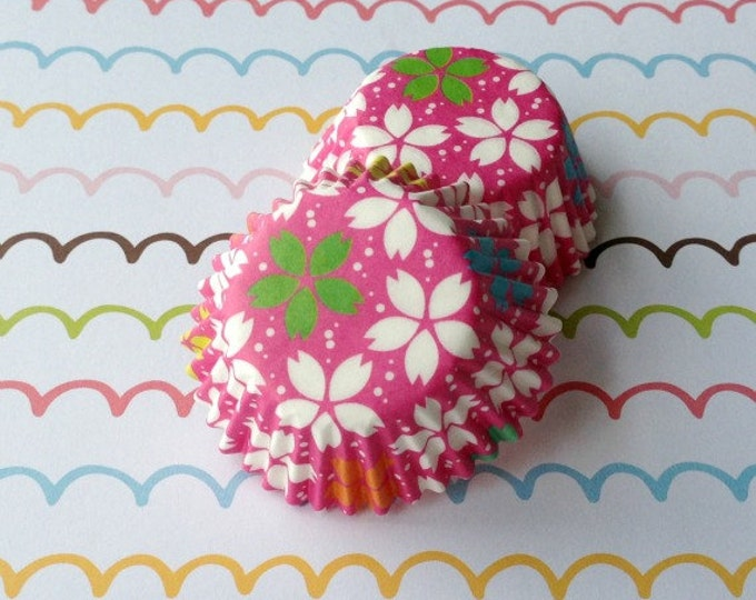 SALE - Mini Sakura/Cherry Blossom Hot Pink Cupcake Liners