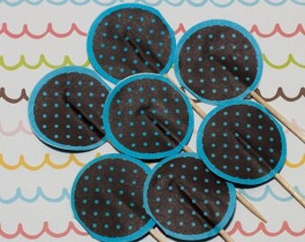 SALE - Fun Pix - Dark Brown/Blue Polka Dots