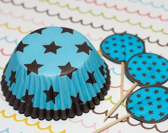 Blue/Dark Brown Stars Cupcake Set