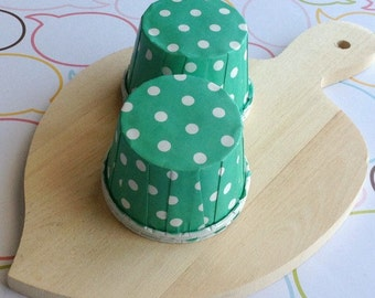 25 Polka Dots Mint Baking Cups