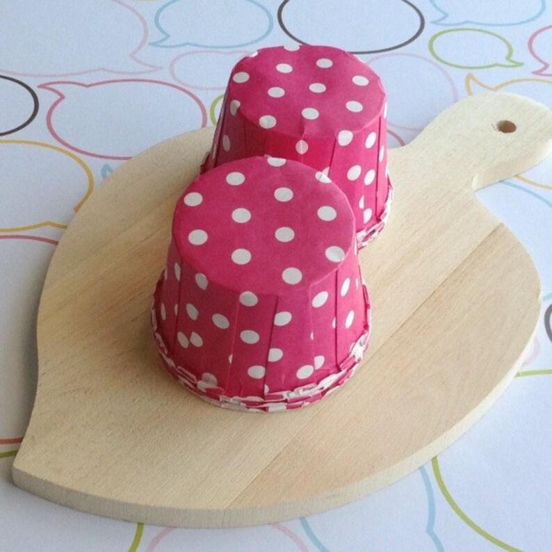 50 Polka Dots Hot Pink Baking Cups image 0