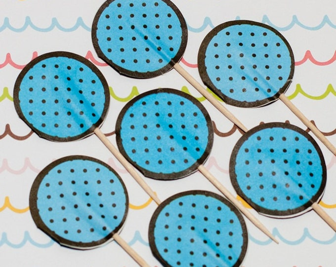 SALE - Fun Pix - Blue/Dark Brown Polka Dots