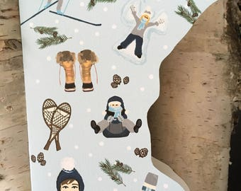 Stationery Gift Set//  minnesota Winter Card Pack // 10 Cards Winter scene snow shoes sledding, skiing