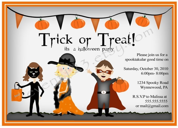 printable halloween costume party invite trick or treat etsy
