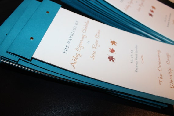 layered custom wedding program booklet cutsom colors and fonts etsy