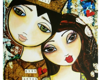 Happily Ever After Fine Art Print of Mixed Media painting