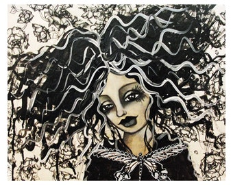 Bride of Frankenstein Fine Art Print of Mixed Media painting