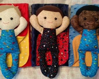Calico Rag doll Boy Baby with Doll Blanket