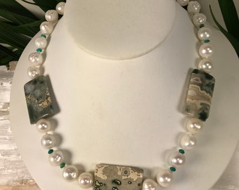 OceanJasper , Pearls  Turquoise necklace